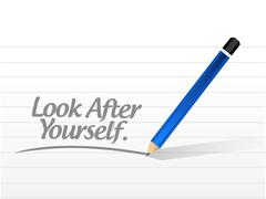 Stock Illustration of look after yourself message illustration design