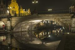 evening in ghent - stock photo