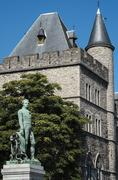Castle of gerald the devil and statue of bauwens in ghent Stock Photos