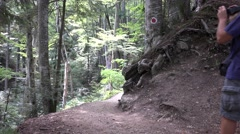 Tourist Walking Mountain Path Use Camcorder Shooting Wild Nature Mountain Images Stock Footage