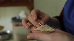 Womans Hands Fold Momo Pastry Stock Footage