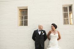 Portrait of Bride and Groom Looking at Each Other, Toronto, Ontario, Canada Stock Photos