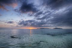 Sunset at Anse Source d´Argent, La Digue, Seychelles Stock Photos