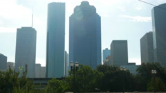 Backlit skyrise buildings in Houston Texas 4k Stock Footage