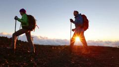 Hikers - people hiking Stock Footage
