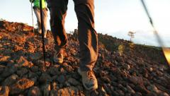 Hiking shoes on hikers walking Stock Footage