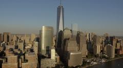 Stock Video Footage of Aerial Manhattan World Trade Centre Skyscrapers New York USA