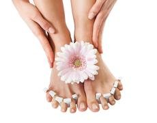 Stock Photo of pedicure treatment for woman's feet