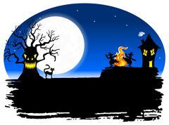 spooky halloween background - stock illustration