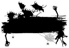 spooky halloween banner - stock illustration