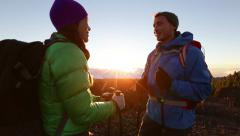Hiking adventure healthy outdoors lifestyle Stock Footage