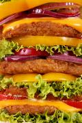 Big hamburger closeup food background Stock Photos