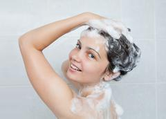 young woman bathing - stock photo
