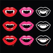 Vampire mouth, vampire teeth icons on black - stock illustration