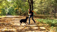 Woman playing with dog in park Stock Footage