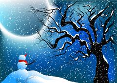 Snowman and snow Stock Illustration