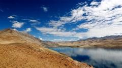Clouds moving above tso moriri lake in ladakh, india Stock Footage