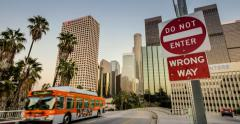 City of Los Angeles. Bus driving from downtown. 4K UHD. Stock Footage