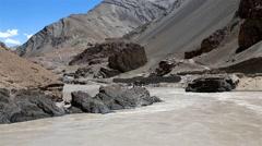 Zanskar river in Ladakh Stock Footage