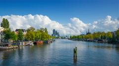 Amstel river in Amsterdam, Holland, 4k UHD timelapse Stock Footage