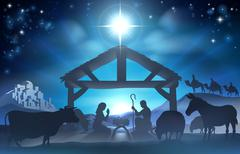 Christmas nativity scene Stock Illustration
