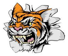 Attacking tiger head Stock Illustration