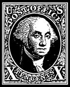 black washington 10 cent stamp - stock illustration