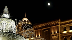 City fountain night and the moon Stock Footage
