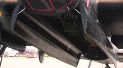 Avro Lancaster world war two heavy bomber returns after tour of England Stock Footage