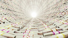 Tunnel. Stacks of money. Stock Footage