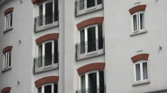 Windows of apartment block in city centre, belfast Stock Footage