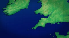 UK South West Map Graphic - Slow Zoom HD  Stock Footage