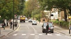 London Landmarks: Abbey Road Zebra Crossing HD Stock Footage