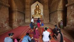 People Praying at Buddhist Temple in Bagan, Myanmar (Burma) Stock Footage