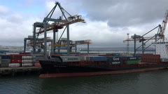 Iris bolten container ship unloading at belfast, northern ireland Stock Footage