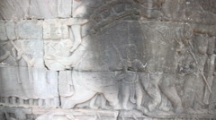 Ancient Khmer carving slider filming Stock Footage