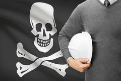 "Engineer with flag on background series - ""jolly roger"" flag - symbol of pira Stock Photos"