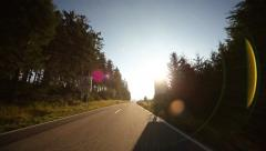 Onboard-Camera with lens flare of sun Stock Footage