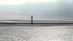 tracking shot, lighthouse, new brighton, wirral, england - stock footage