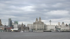 Tracking shot, liver buildings and liverpool unesco skyline, england Stock Footage