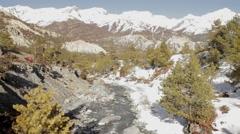 Trekker Walking into Distance - Himalayas Stock Footage