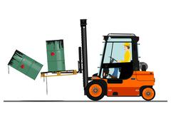 orange forklift - stock illustration