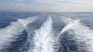 Stock Video Footage of Ocean Wake Smoke Behind Large Ship HD