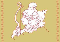 lord rama with hanuman ape (monkey) god - stock illustration