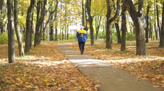Walk in the autumn park (1) - stock footage