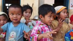 Local Kids at Village School Near Hsipaw, Shan State, Myanmar (Burma) Stock Footage