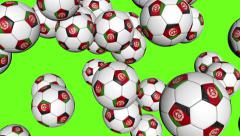 Stock Video Footage of Afghanistan soccer balls falling on green background