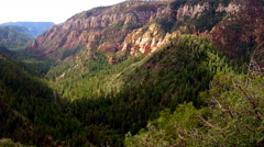 Oak Creek Canyon Wall With Forested Valley- Flagstaff AZ - stock footage