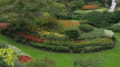 Sunken Garden at Butchart Gardens near Victoria, British Columbia - stock footage