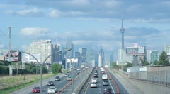 Toronto Highway with CN Tower Stock Footage